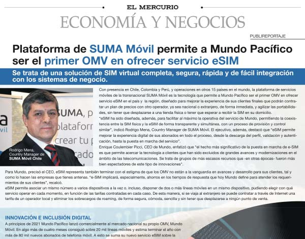 SUMA móvil - Noticia: Mundo primer OMV con eSIM sobre la plataforma de SUMA